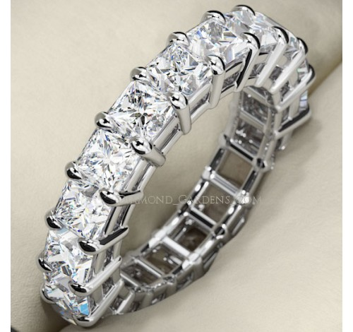 3.74 ct Princess cut Diamond Eternity Wedding Band, 0.17 ct each