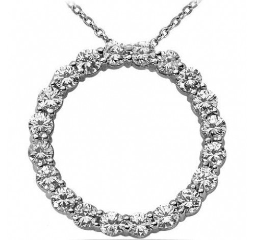 Circle of Love Round Diamond Pendant,  0.20 ct Each,  4.00 tcw