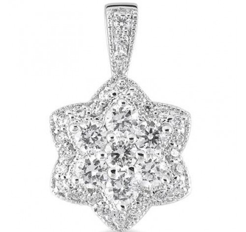 14k White Gold Round Diamond Pendant,  2.29 tcw