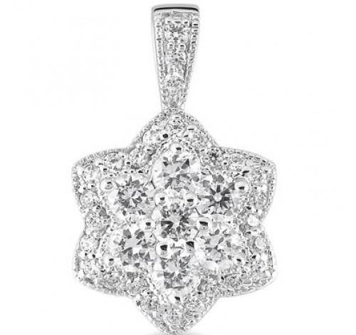 14k White Gold Round Diamond Pendant,  2.29 tcw
