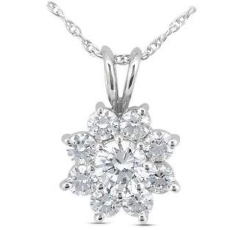 Flower Round Diamond Pendant,  0.75 ct Center,  2.03 tcw