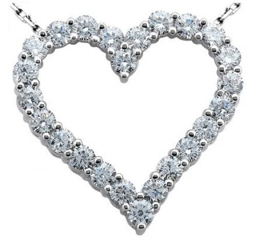 Heart Shape Round Diamond Pendant,  0.20 ct Each,  4.00 tcw