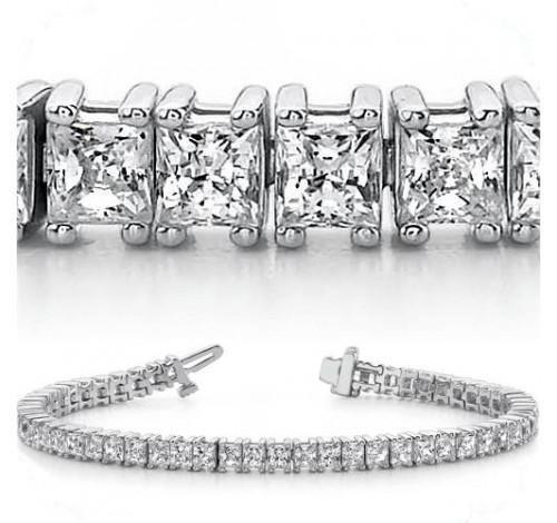 7.26 ct Princess cut Diamond Tennis Bracelet, 0.11 ct each