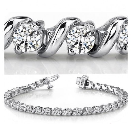 4.08 ct Round cut Diamond Tennis Bracelet, 0.12 ct each