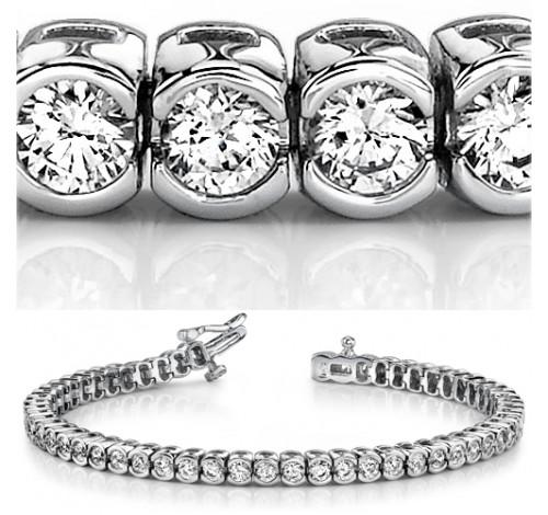 6 ct Round cut Diamond Tennis Bracelet, Half Bezel, 0.11 ct each