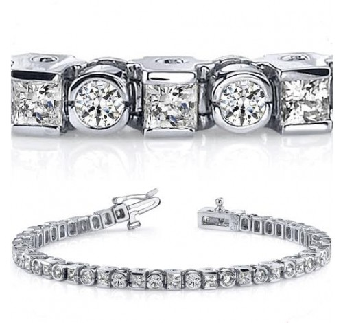7.59 ct Round & Princess cut Diamond Tennis Bracelet, Bezel Set