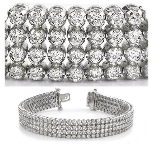 8.82 ct Round cut Diamond Tennis Bracelet, 4 Row, 0.03 ct each