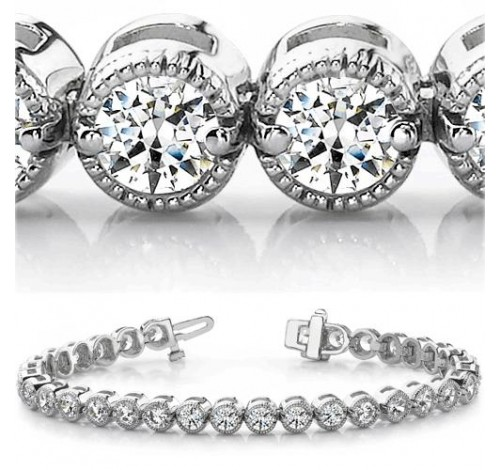 5 ct Round cut Millgrain Diamond Tennis Bracelet 0.13 ct each