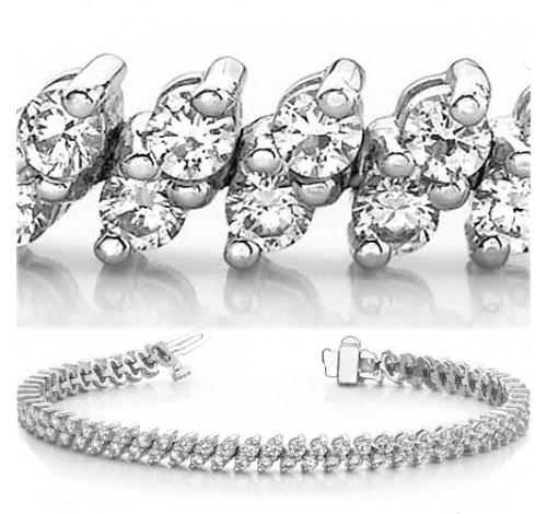 6.15 ct Round cut Diamond 14k Gold Bracelet, 2 Row, 0.05 ct each