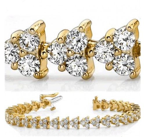 8 ct Round cut Diamond 14k Gold Bracelet, 0.09 ct each