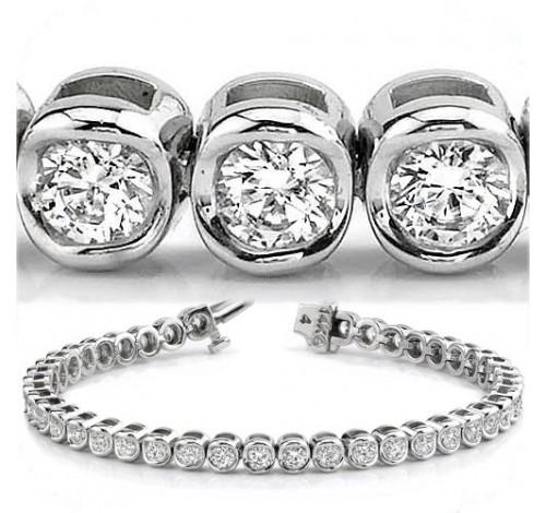 3.87 ct Round cut Diamond Tennis Bracelet, Bezel, 0.09 ct each