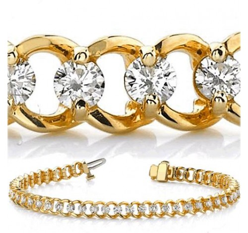 3.06 ct Round cut Diamond 14k Gold Bracelet, 0.09 ct each