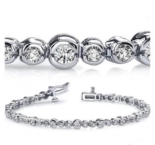4 ct Round cut Diamond 14k Gold Bracelet, Bezel Set