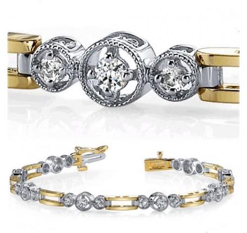1.01 ct Round cut Diamond 14k Two Tone Gold Bracelet