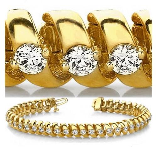5 ct Round cut Diamond 14k Gold Bracelet, 0.11 ct each