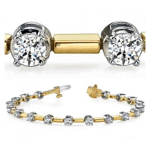 4.25 ct Round cut Diamond Two Tone Gold Bracelet, 0.25 ct each