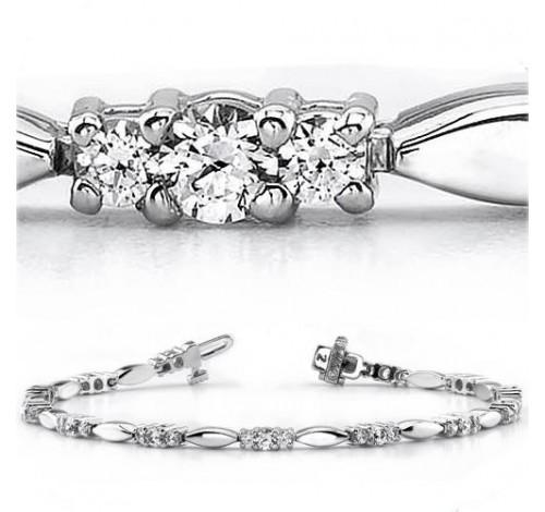 3.08 ct Round cut Diamond 14k Gold Bracelet