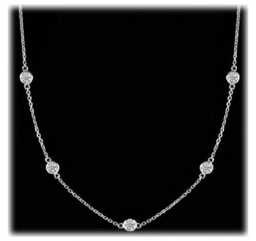 Round Diamond By The Yard Chain Necklace,  7 x 0.25 ct each