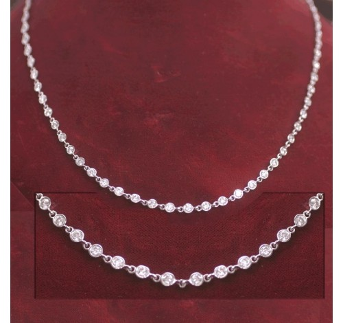 Round Diamond By The Yard Gold Necklace,  16 inch,  60 x 0.10 ct