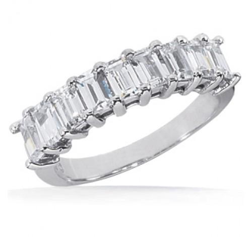 9 Emerald Cut Diamond Anniversary Ring,  0.20 ct Each,  1.80 tcw