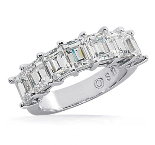 7 Emerald Cut Diamond Anniversary Ring,  0.25 ct Each,  1.75 tcw