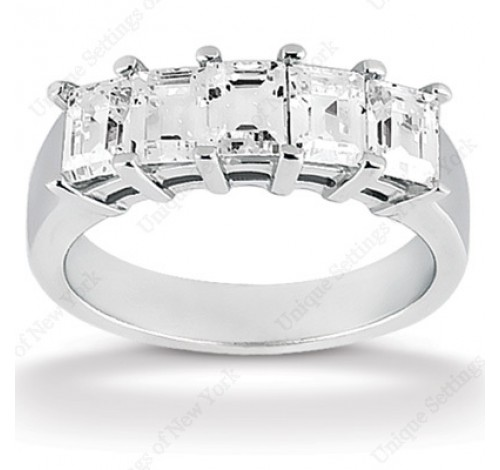 5 Emerald Cut Diamond Anniversary Ring,  0.31 ct Each,  1.55 tcw
