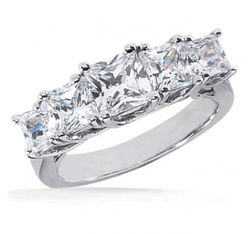 Graduated 5 Princess Cut Diamond Anniversary Ring,  2.35 tcw