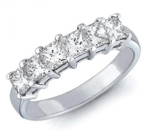 6 Princess Cut Diamond Anniversary Ring,  0.40 ct Each,  2.40 tcw