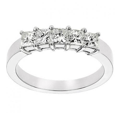 5 Princess Cut Diamond Anniversary Ring,  0.30 ct Each,  1.50 tcw