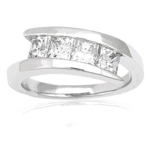 4 Princess Cut Diamond Anniversary Ring,  0.40 ct Each,  1.60 tcw