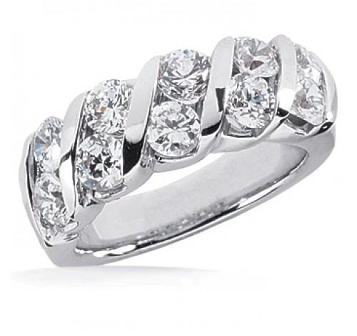 10 Round Cut Diamond Anniversary Ring,  0.25 ct Each,  2.50 tcw