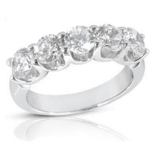 5 Round Cut Diamond U Prong Ring,  0.25 ct Each,  1.25 tcw