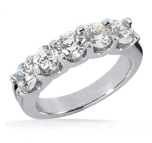 5 Round Cut Diamond Anniversary Ring,  0.20 ct Each,  1.00 tcw