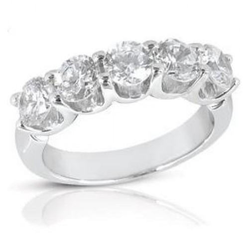 5 Round Cut Diamond U Prong Ring,  0.40 ct Each,  2.00 tcw