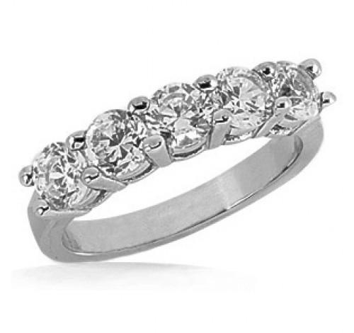 5 Round Cut Diamond Anniversary Ring, 0.40 ct Each, 2.00 tcw