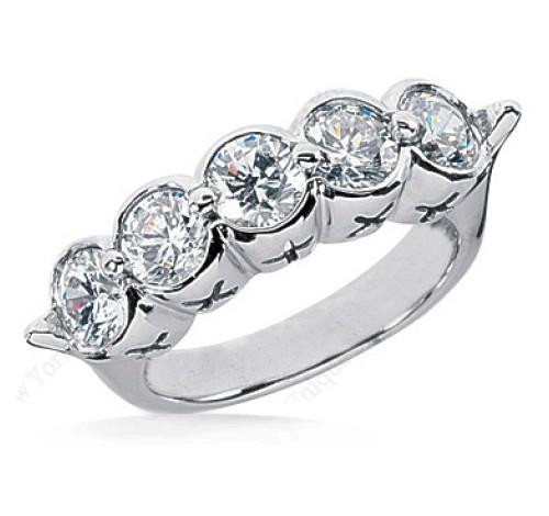 5 Round Cut Diamond Anniversary Ring,  0.45 ct Each,  2.25 tcw
