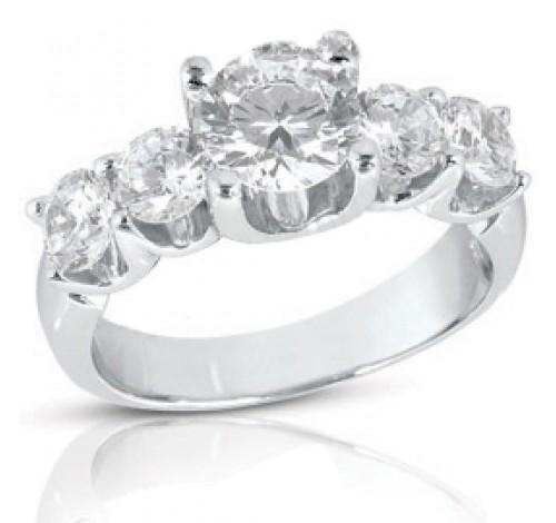 5 Round Cut Diamond U Prong Ring,  1.00 ct center,  2.00 tcw