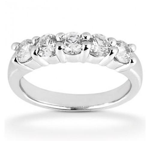 5 Round Cut Diamond Anniversary Ring, 0.35 ct Each, 1.75 tcw