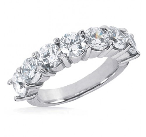 7 Round Cut Diamond Anniversary Ring, 0.30 ct Each, 2.10 tcw