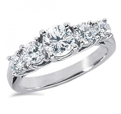 5 Round Cut Diamond Anniversary Ring,  1.00 ct center,  2.25 tcw