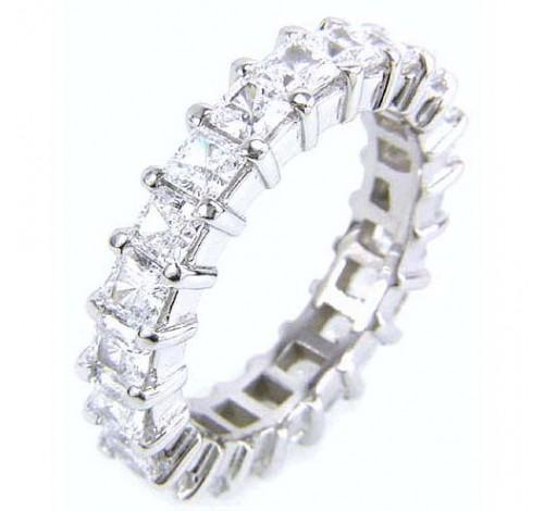 5.13 ct Princess cut Diamond Eternity Wedding Band, 0.27 ct each
