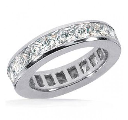 1.55 ct Princess cut Diamond Eternity Band Channel, 0.05 ct each