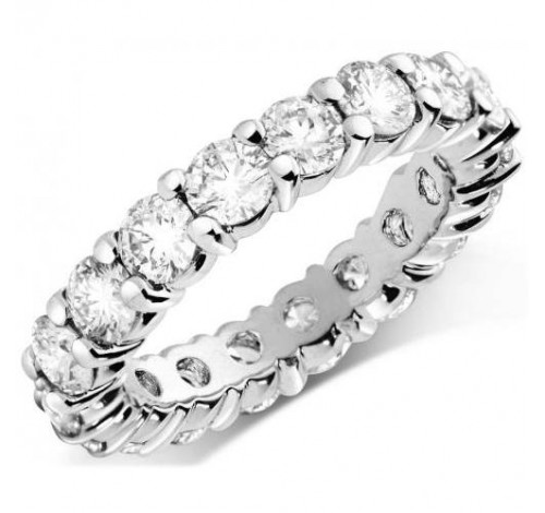 4.25 ct Round cut Diamond Eternity Wedding Band, 0.25 ct Each