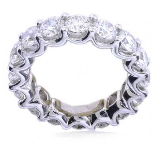 5.10 ct Round cut Diamond Eternity Wedding Band, U, 0.30 ct each