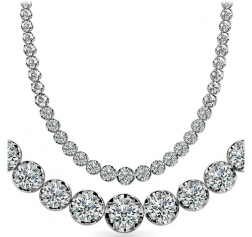 9 ct Round Diamond Graduated Tennis Necklace, 4 Prong, 16 Inch