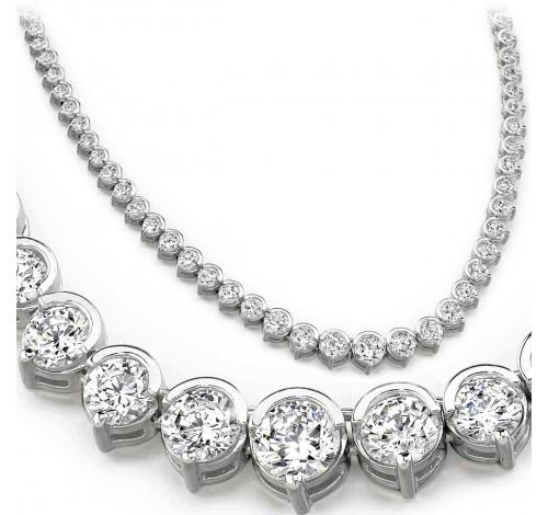 8 ct Round Diamond Graduated Tennis Necklace Half Bezel 16 Inch