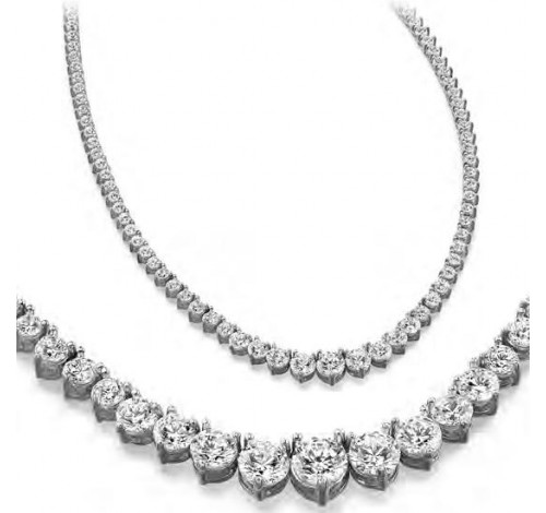 15 ct Round Diamond Graduated Tennis Necklace, 3 Prong, 16 Inch
