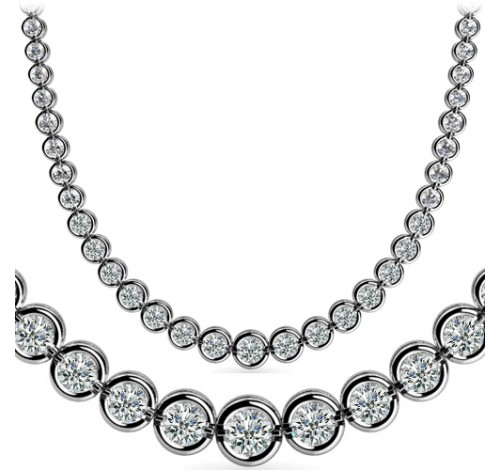 7 ct Round Diamond Graduated Tennis Necklace Half Bezel 16 Inch