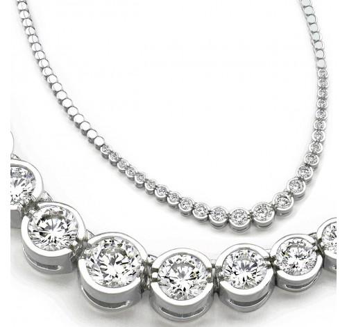 3 ct Round Diamond Graduated Tennis Necklace Half Bezel 16 Inch