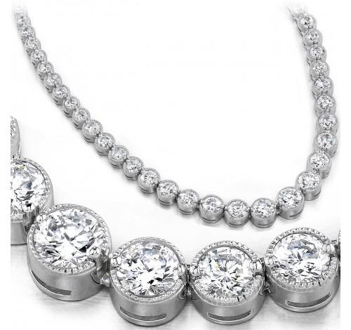 14 ct Round Diamond Graduated Tennis Necklace Half Bezel 16 Inch
